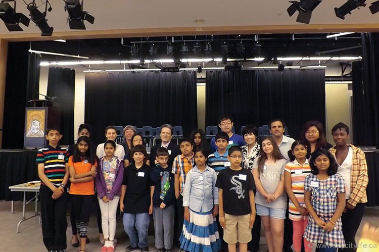 Regional councillor Deb Schulte (back row, third from left), deputy mayor of Vaughan Gino Rosati (back row, fourth from left) and YRDSB trustee Carol Chan (back row, seventh from left) with this year's spelling bee finalists