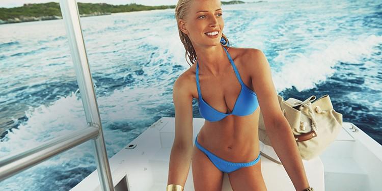 Santa Fe Plaited Halter Push-Up Bikini Top and Bottom