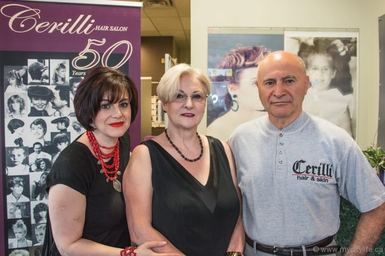 Loredana Cerilli, owner of Cerilli Hair Salon, and the salon's co-founders, her mother Maria and father Tony