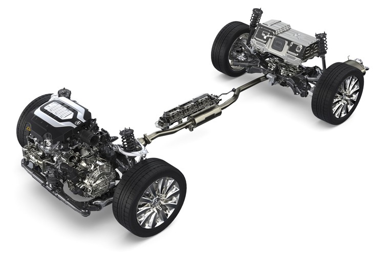 The RLX Sport Hybrid features three electric motors, one mated to its 7-speed  gearbox, and the other two mounted to its rear tires