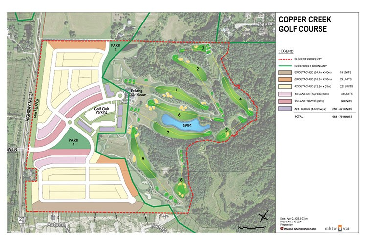The concept of a possible residential community on half of Copper Creek, as submitted during the pre-application process