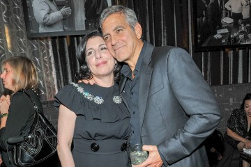 George Clooney and Sue Kroll inside Montecito Restaurant for the post-screening of Our Brand Is Crisis