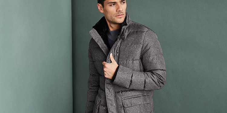 9. Armani Collezioni's grey mélange jacket repels water and is padded with down to keep you warm and stylish through the colder months www.harryrosen.com