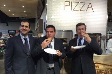 The Globe Meats Fresh Market and Grill grand opening drew in guests that included Toronto mayor John Tory, who enjoyed Italian-style wood-oven pizza prepared by the chef