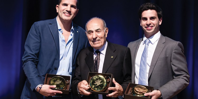 Winners of the Pentola d'Oro Award 2015, Food and Beverage Industry Leaders, from left to right: Cosimo Mammoliti, Proprietor, Terroni; Nunzio Tumino, founder and CEO, Aurora Importing and Distributing Ltd.; Thomas Longo receiving the award on behalf of his father, Anthony Longo, president and CEO, Longo's