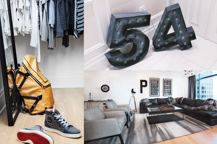 "Patterson turned to Jaclyn Genovese of Spaces by Jacflash to decorate his home, which is filled with interesting décor, including this marquee 54, his number on the court, and a large  ""P"" hanging in his living room"