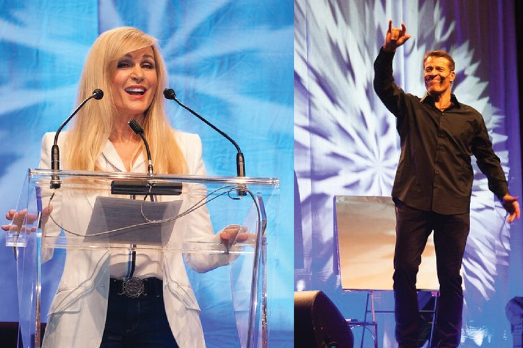 Risi introduces American motivational speaker Tony Robbins (right) at an event in September