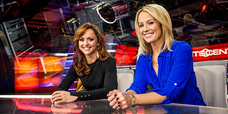 TSN's SportsCenre's first female anchor team, Kate Beirness and Natasha Staniszewski