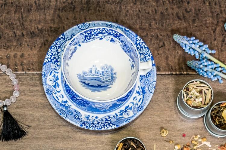 1. Blue Italian Teacup & Saucer