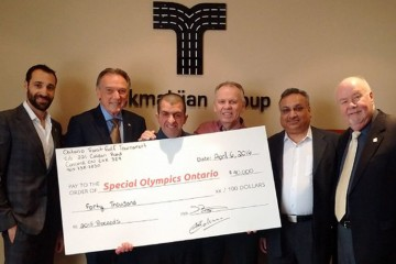 Raffi Tokmakjian, president of Tokmakjian Group; Peter Kent, Conservative MP for Thornhill; Matthew Nighswander, ambassador for Special Olympics Ontario; Glenn MacDonell, president and CEO of Special Olympics Ontario; Ajay Mehra, chief operating officer at Tok Transit; and Ted Galinis, general manager at Durham Region Transit