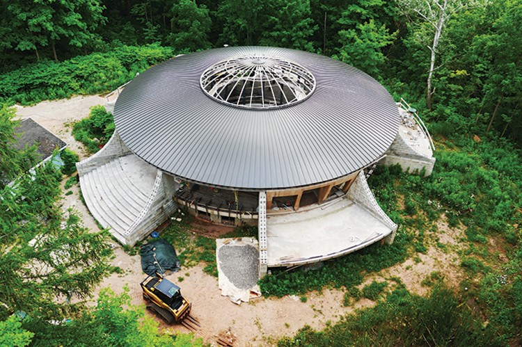 "An aerial view of Perri's ""UFO House"" reveals his colossal building efforts"