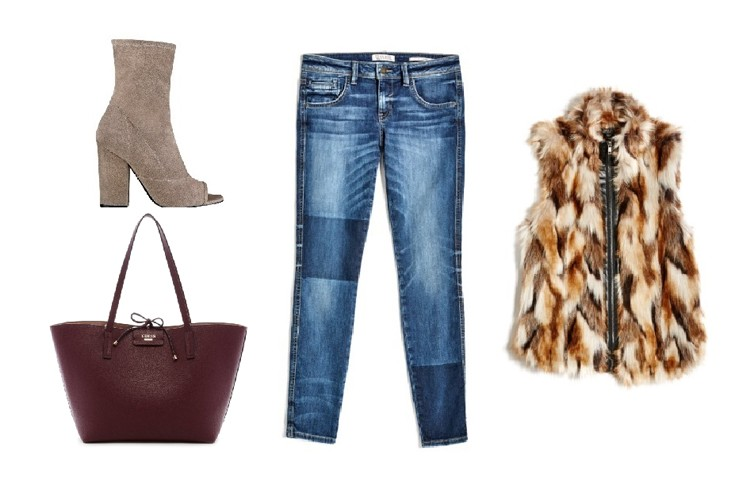 FOR HER - Add class to a pair of patchwork denim with an open-toe heel. And who doesn't love a faux fur vest? To complete the look, mix in a pop of colour like this burgundy handbag for a smart-casual ensemble.