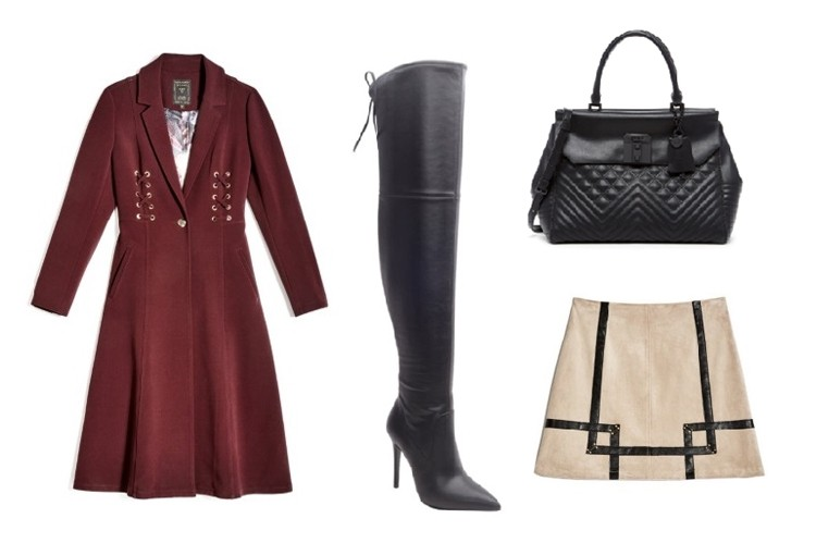 FOR HER - Dress to impress! If you're about to embark on a new internship in the city, this high-fashion  style, featuring thigh-high boots and an A-line dress, will leave a lasting impressiona. Top off the look with a dramatic crimson coat and a multifunctional tote.