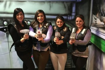 The laser tag arena can accommodate up to 15 people per game, and is appropriate for players 7 years of age and older