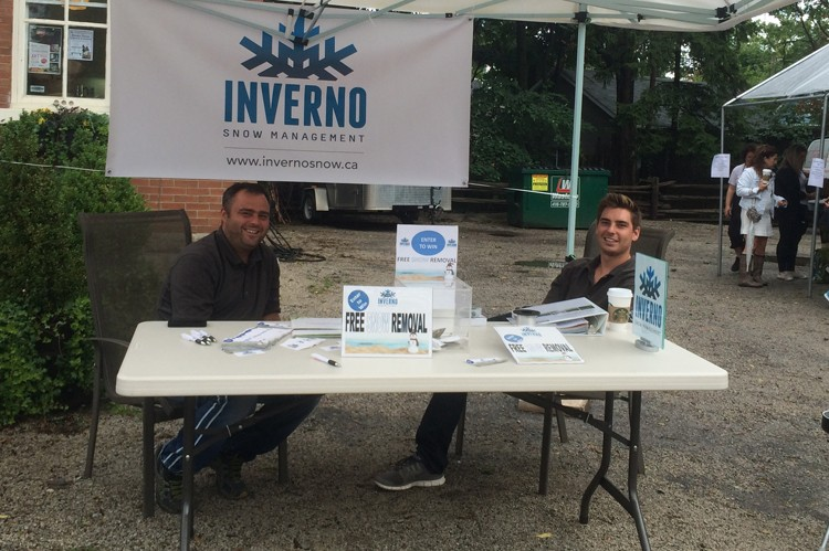 Festival-goers stopped by Inverno Snow Management's booth to enter a ballot for free snow removal
