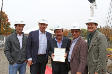 Fonzie Carogioiello, Vaughan Mayor Maurizio Bevilacqua, Frank Carogioiello, Ward 2 councillor Tony Carella and Steve Carogioiello, contract manager at Royal Pine Homes