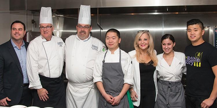 John Mauro, chef Stephan Schulz, chef Doug Robertson, Brian Cheng, Toppits president Heather Gremont, chef Alanna Fleischer and Jerry Tan