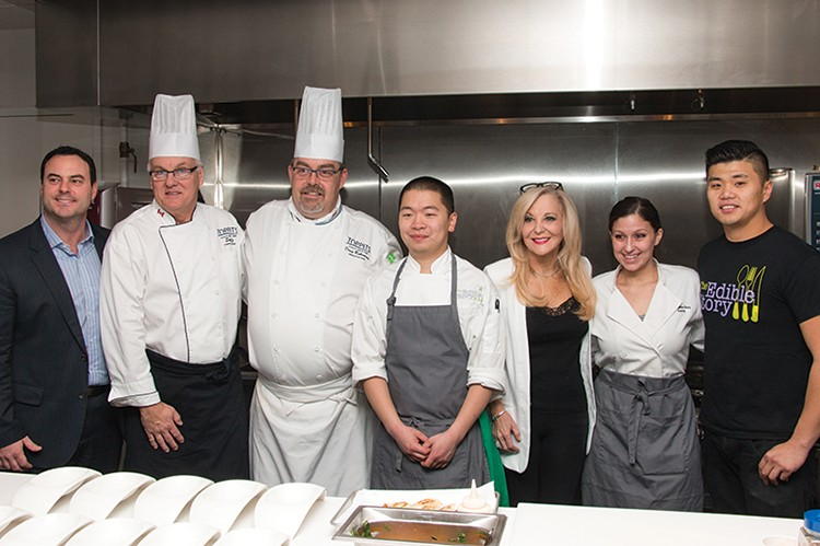 John Mauro, chef Stephan Schulz, chef Doug Robertson, Brian Cheng, Toppits president Heather Gremont, chef Alanna Fleischer and Jerry Tan