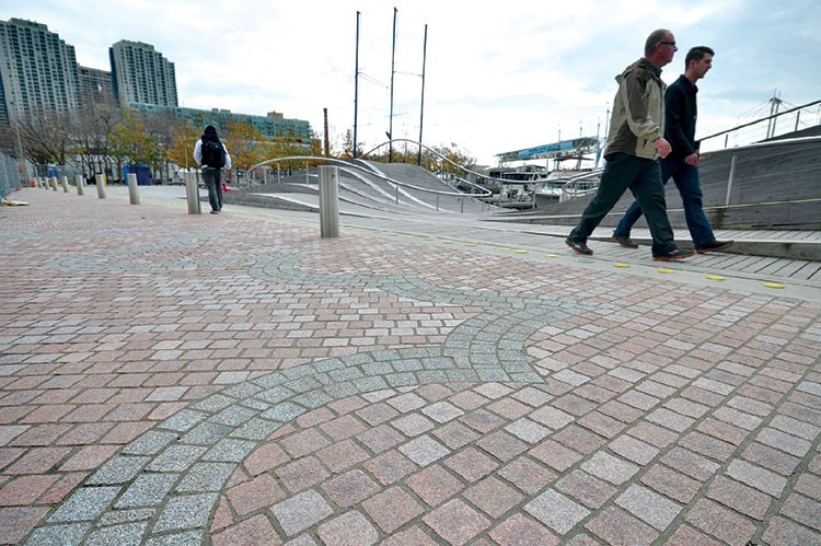 Completed section of the granite promenade with the signature mosaic at Simcoe WaveDeck (1)