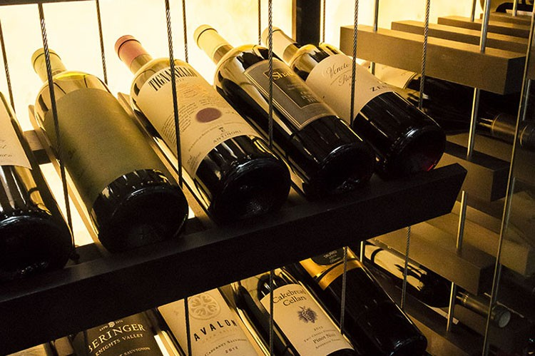 A recently installed wine fridge also keeps bottles from an extensive wine list
