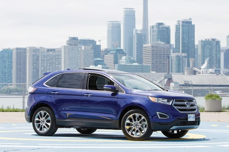 The 2015 Ford Edge at Polson Pier, where media test drove the redesigned midsize crossover