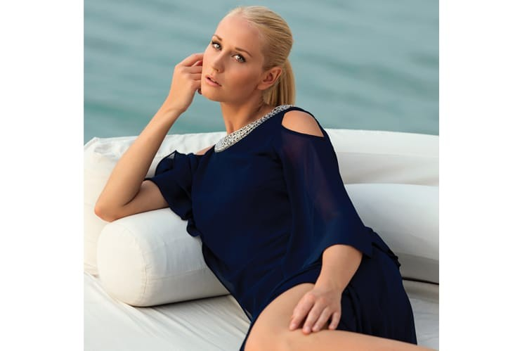 Easy, breezy, blue. The midnight blue hue of this collared dress with Swarovski details adds instant sophistication to any beachside affair www.tommy.com