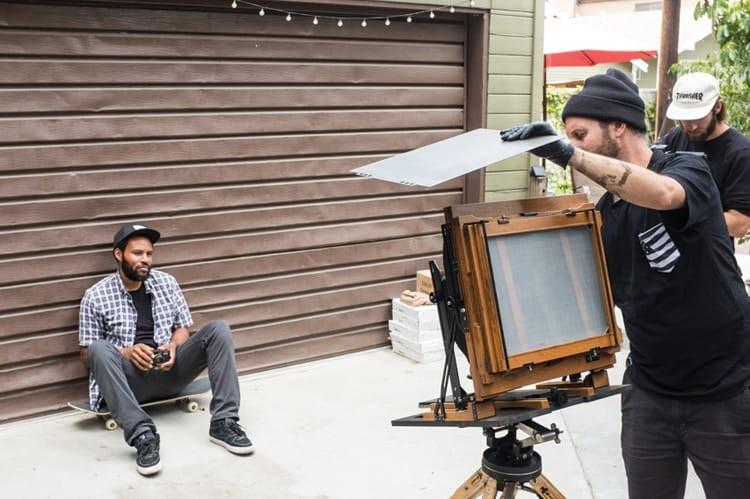 Making Ray Barbee's tintype in California