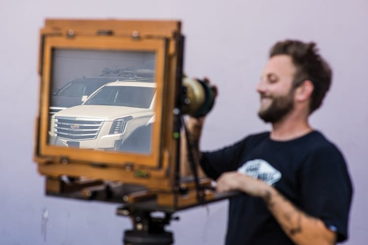 Matt Alberts at the Berrics, Whitey the Escalade in the reflection