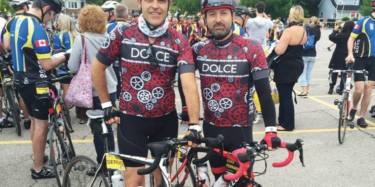 The Dolce riding team members Sergio Sosa (left) and Fernando Zerillo (right) are proud to support this year's Ride to Conquer Cancer