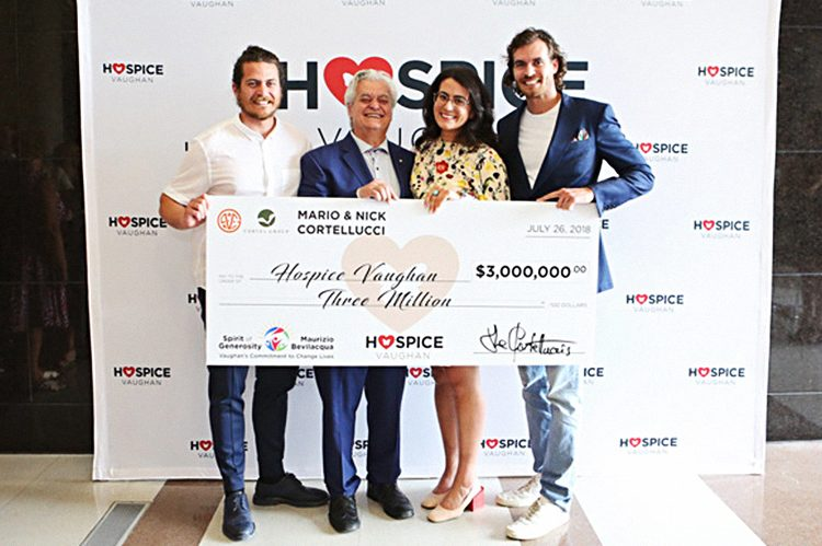 (Left to right) Stefano Cortellucci, Mario Cortellucci, Romina Cortellucci and Peter Cortellucci pose with their family's generous donation of $3 million to Hospice Vaughan
