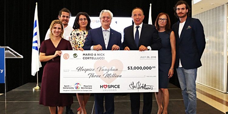 The landmark donation is the largest in the history of Hospice Vaughan. (From left to right: executive director of Hospice Vaughan, Belinda Marchese; Stefano Cortellucci; Romina Cortellucci; Mario Cortellucci; Mayor Maurizio Bevilacqua; president of the Board of Directors of Hospice Vaughan, Maria Castro; and Peter Cortellucci)