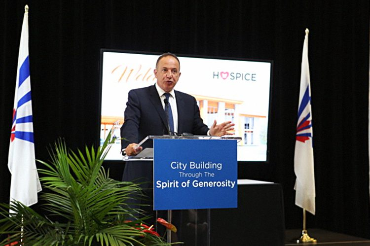 Mayor Maurizio Bevilacqua hosts an event for the Cortellucci family, who donated $3 million and are the naming donors of the new Hospice Vaughan — Mario & Nick Cortellucci Hospice Palliative Care Centre of Excellence